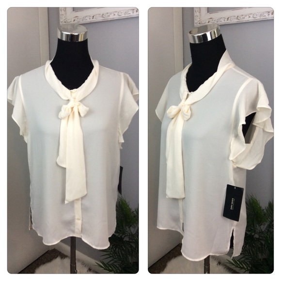 26860b0c3b119 NWT Zara Basics Career office Blouse Cream Bow M
